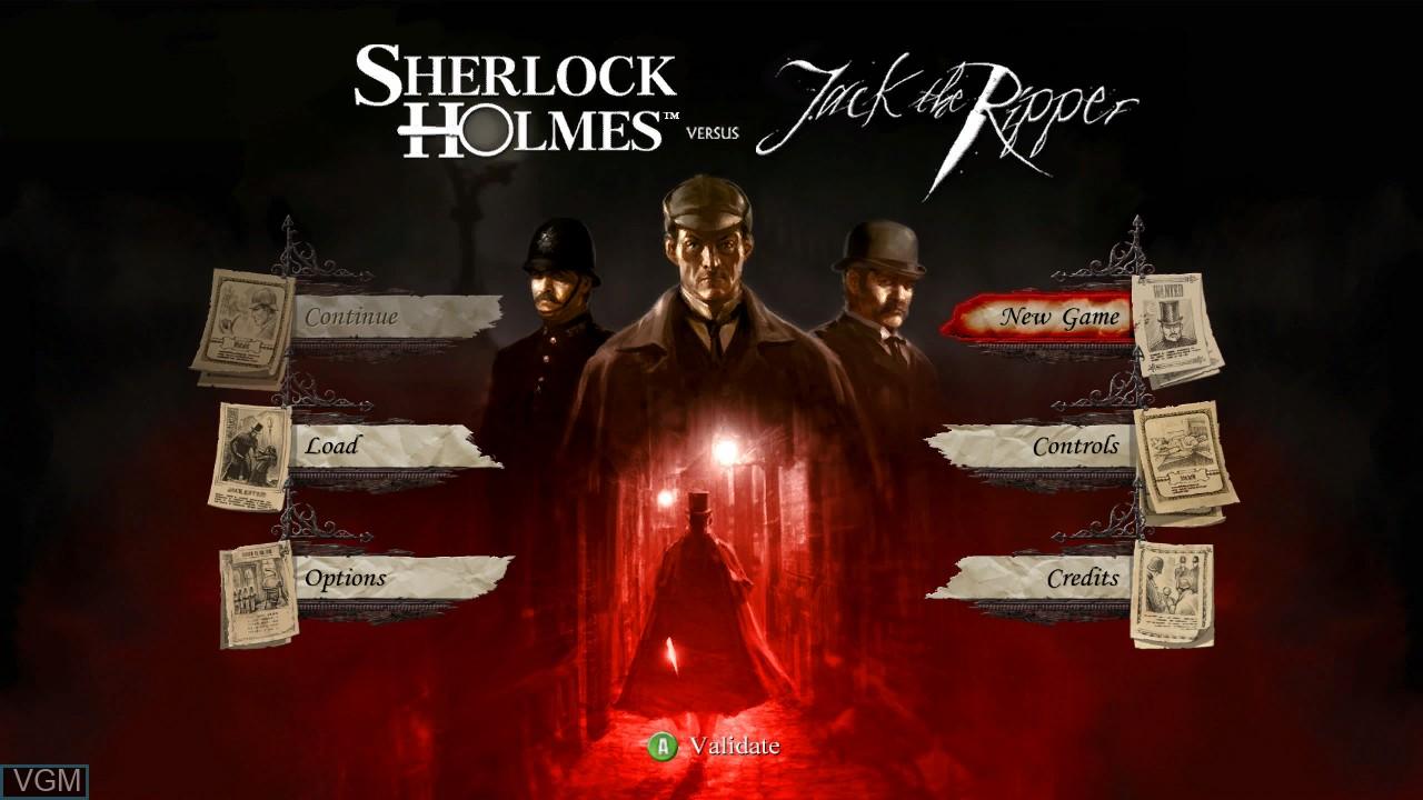 Menu screen of the game Sherlock Holmes vs. Jack the Ripper on Microsoft Xbox 360