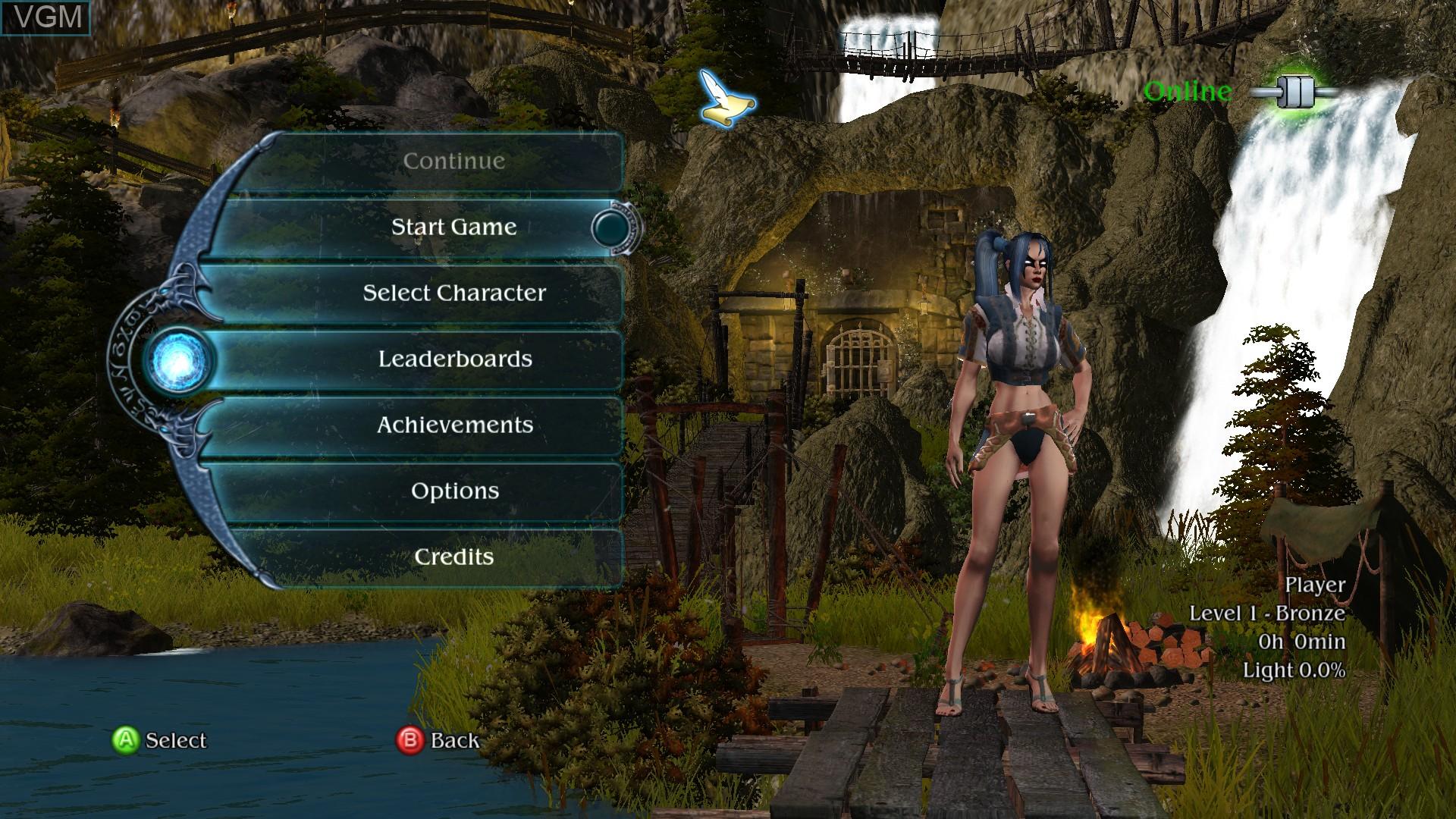 Menu screen of the game Sacred 2 - Fallen Angel on Microsoft Xbox 360