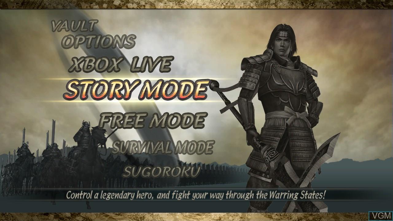 Menu screen of the game Samurai Warriors 2 on Microsoft Xbox 360