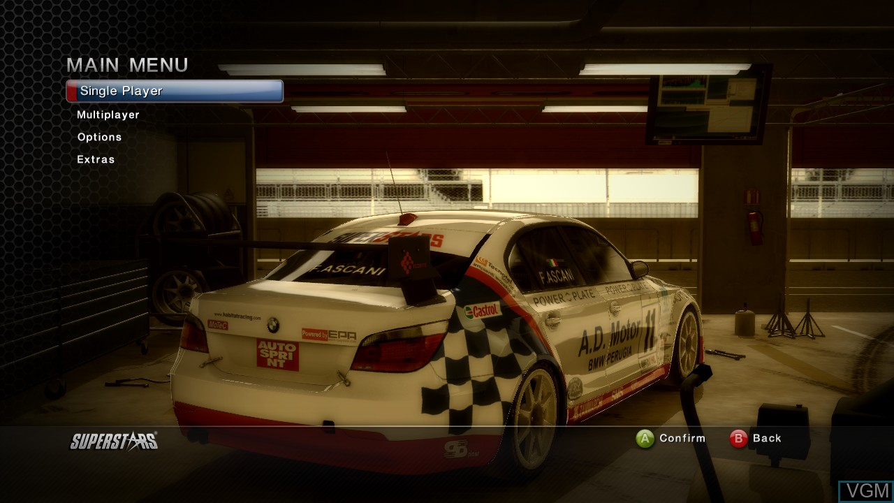 Menu screen of the game Superstars V8 Racing on Microsoft Xbox 360