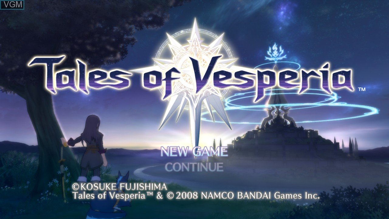 Menu screen of the game Tales of Vesperia on Microsoft Xbox 360