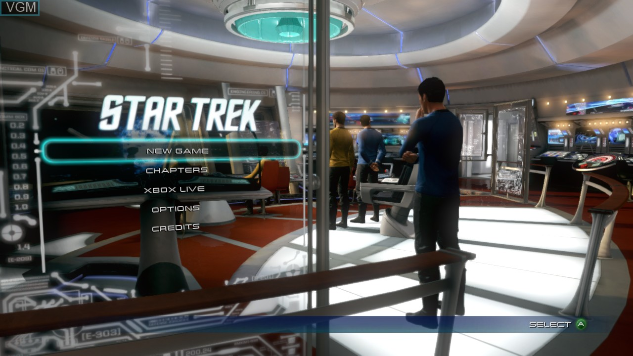 Menu screen of the game Star Trek The Video Game on Microsoft Xbox 360