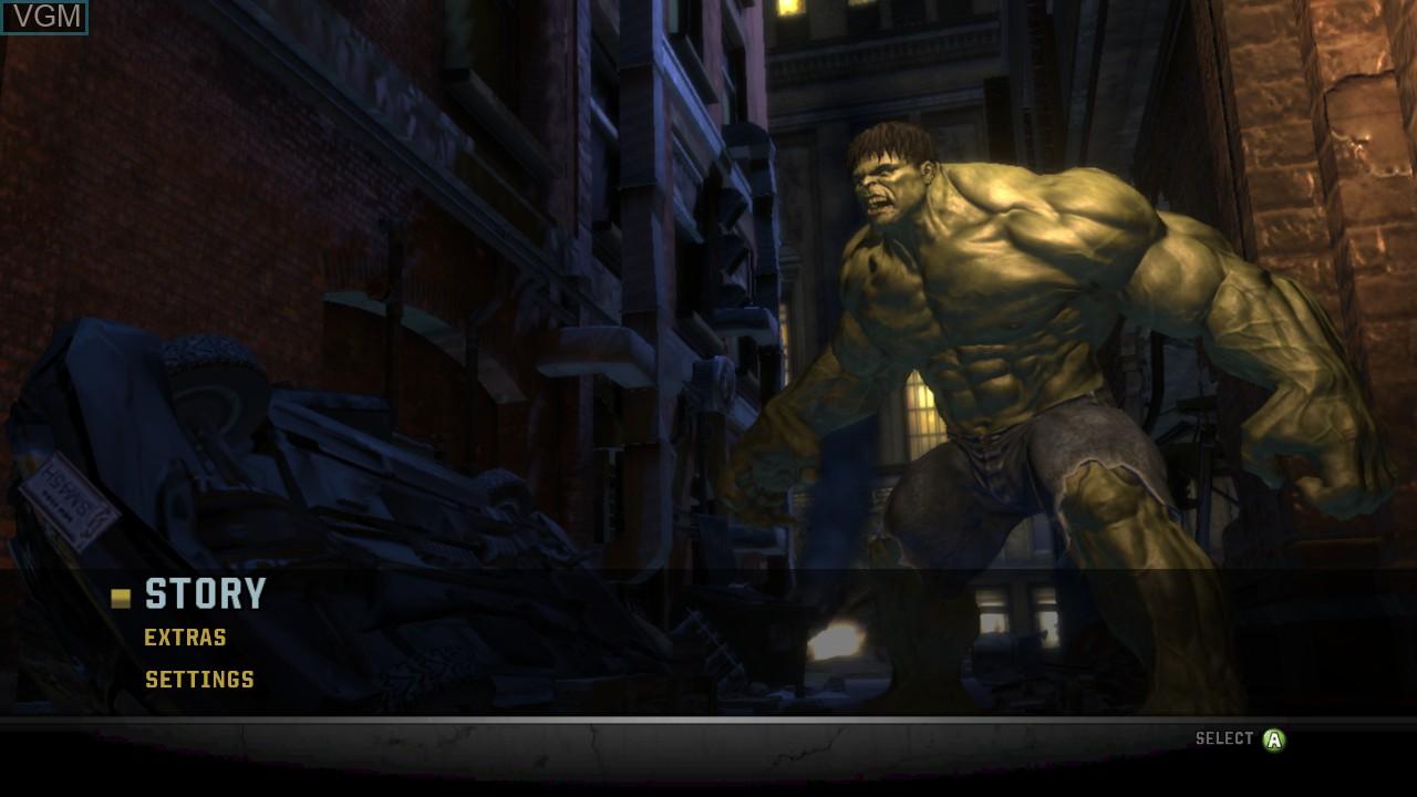 Menu screen of the game Incredible Hulk, The on Microsoft Xbox 360