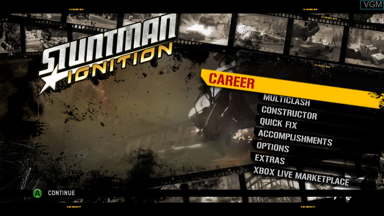 Menu screen of the game Stuntman Ignition on Microsoft Xbox 360