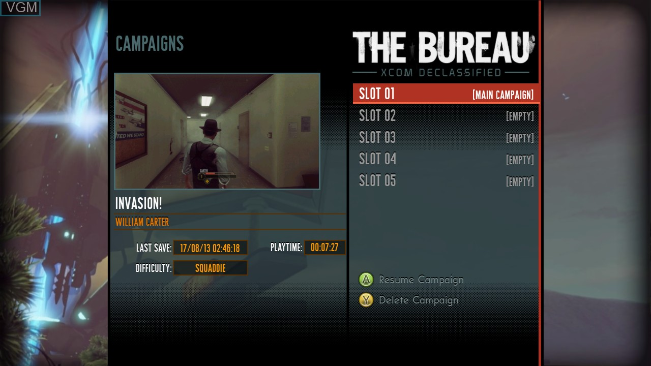 Menu screen of the game Bureau, The - XCOM Declassified on Microsoft Xbox 360