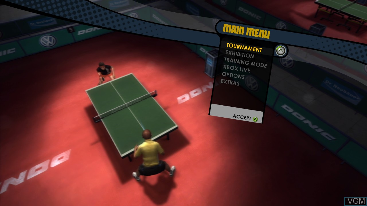 Menu screen of the game Rockstar Games presents Table Tennis on Microsoft Xbox 360