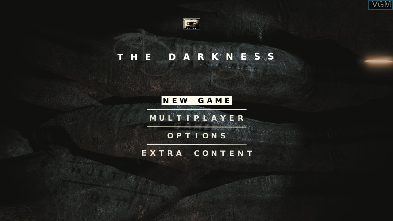 Menu screen of the game Darkness, The on Microsoft Xbox 360