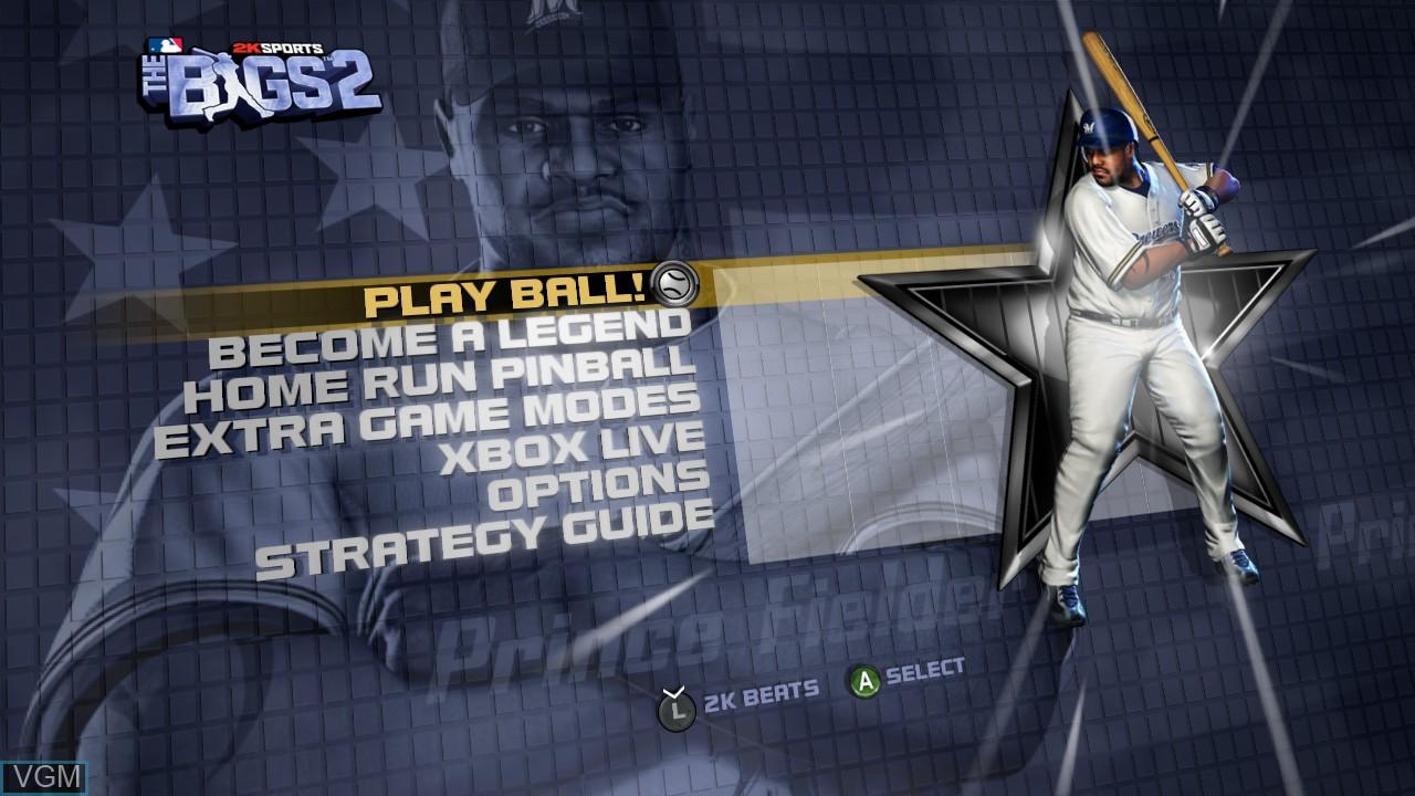 Menu screen of the game Bigs 2, The on Microsoft Xbox 360