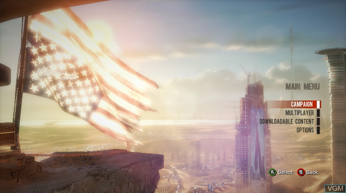 Menu screen of the game Spec Ops - The Line on Microsoft Xbox 360