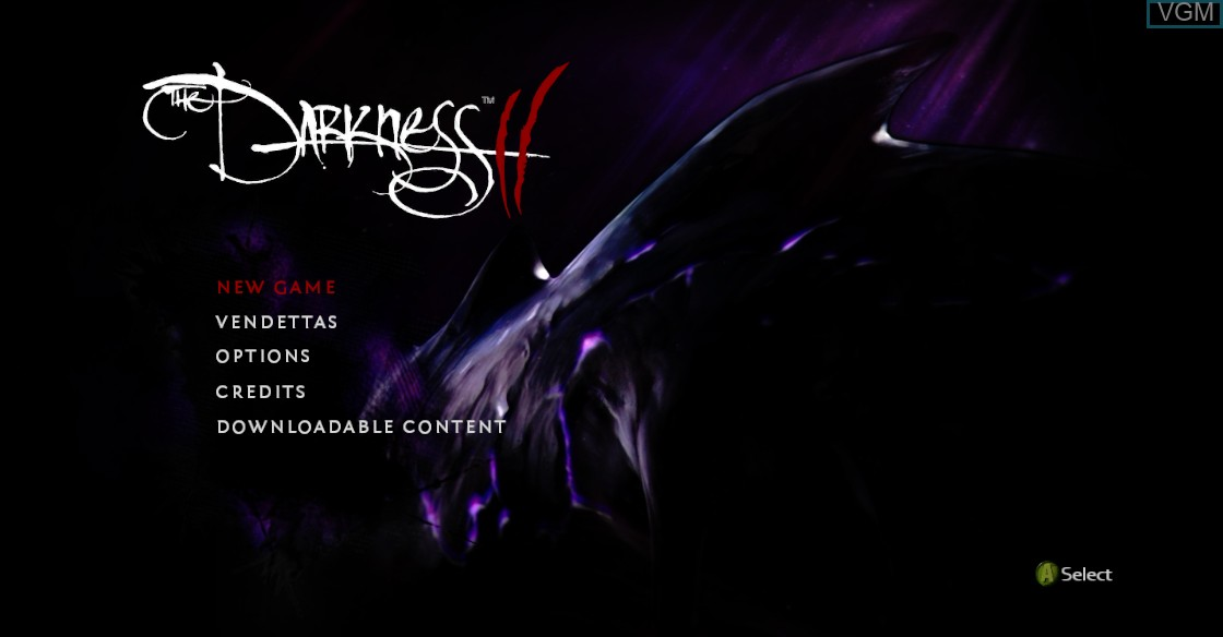 Menu screen of the game Darkness II, The on Microsoft Xbox 360