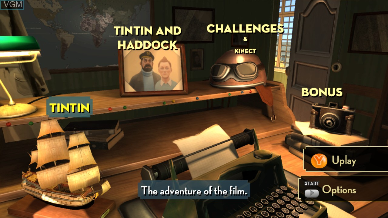 Menu screen of the game Adventures of Tintin, The - The Secret of the Unicorn on Microsoft Xbox 360