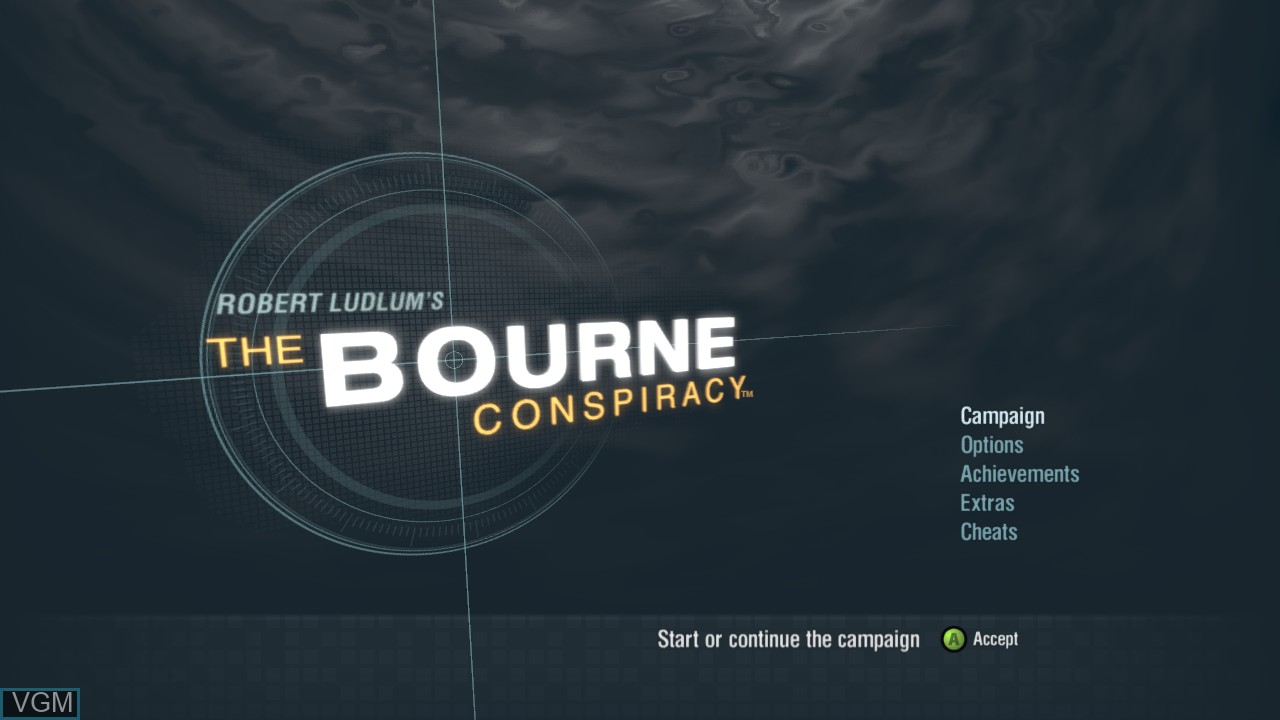 Menu screen of the game Bourne Conspiracy, The on Microsoft Xbox 360