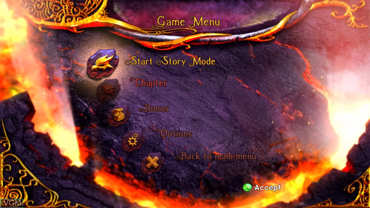 Menu screen of the game Legend of Spyro, The - Dawn of the Dragon on Microsoft Xbox 360