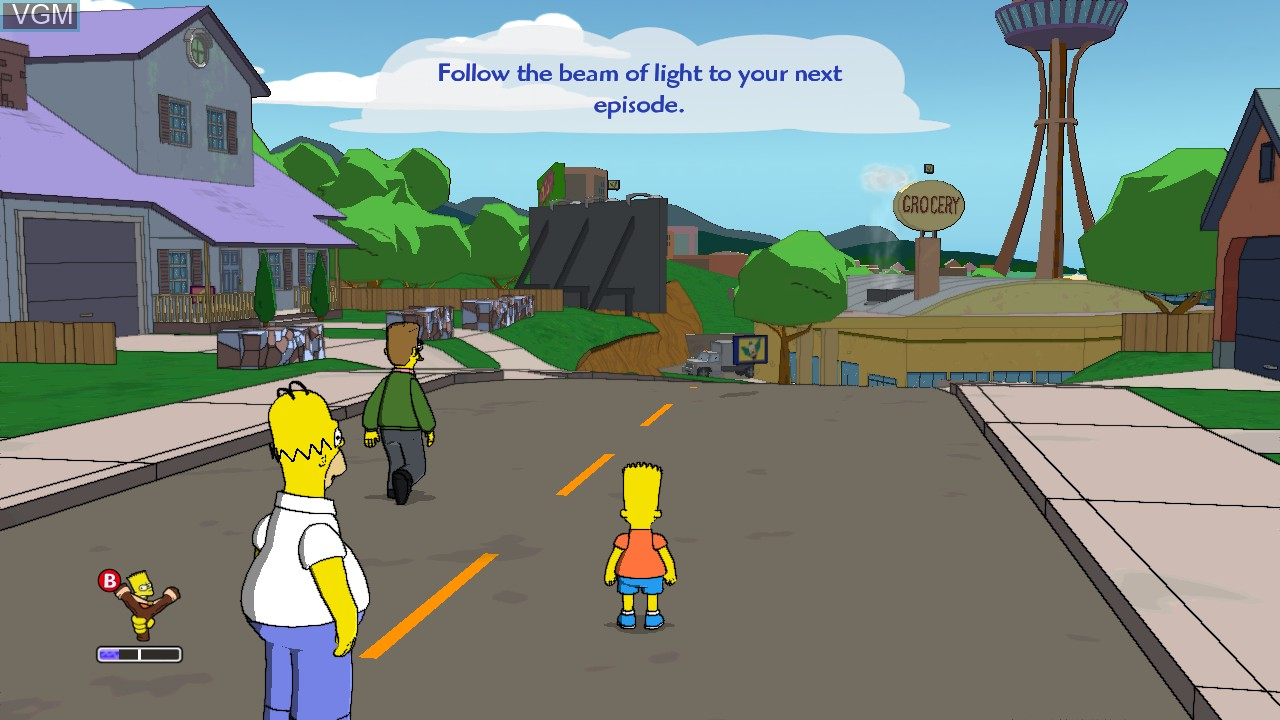 Menu screen of the game Simpsons Game, The on Microsoft Xbox 360