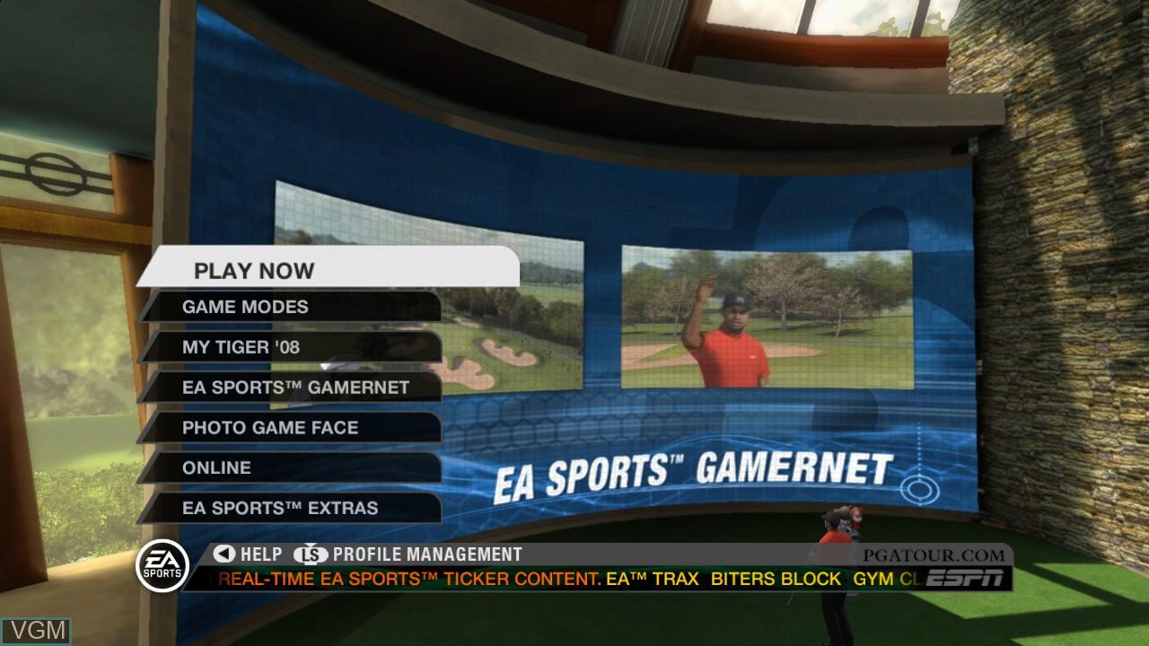 Menu screen of the game Tiger Woods PGA Tour 08 on Microsoft Xbox 360