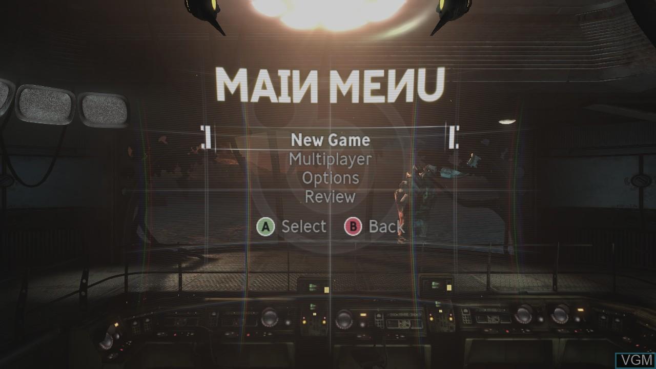 Menu screen of the game Singularity on Microsoft Xbox 360
