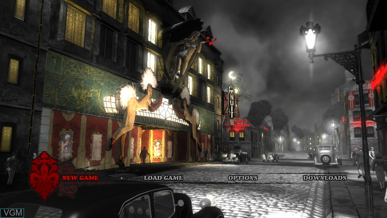 Menu screen of the game Saboteur, The on Microsoft Xbox 360
