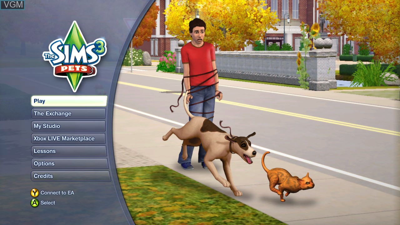 Menu screen of the game Sims 3, The - Pets on Microsoft Xbox 360