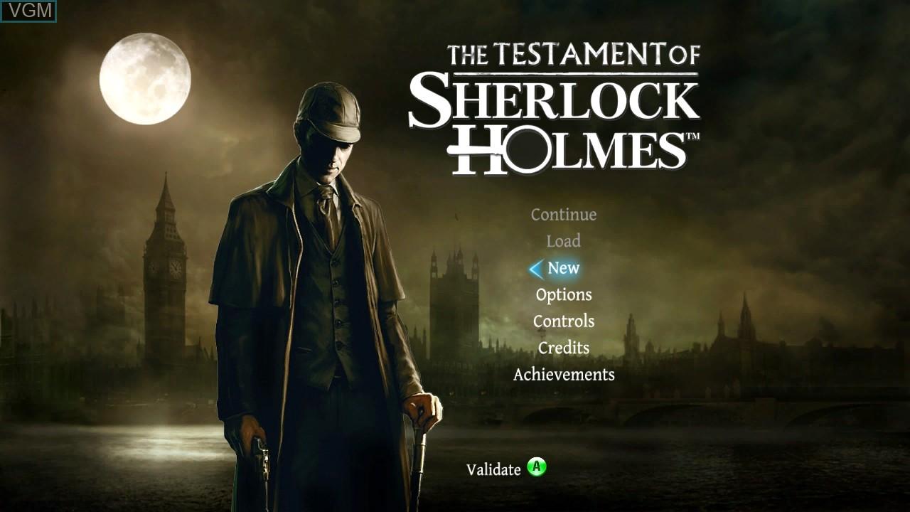 Menu screen of the game Testament of Sherlock Holmes, The on Microsoft Xbox 360