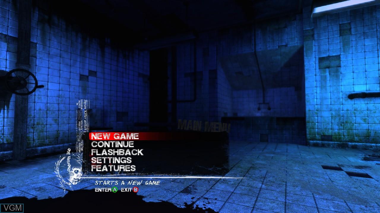 Menu screen of the game Saw on Microsoft Xbox 360