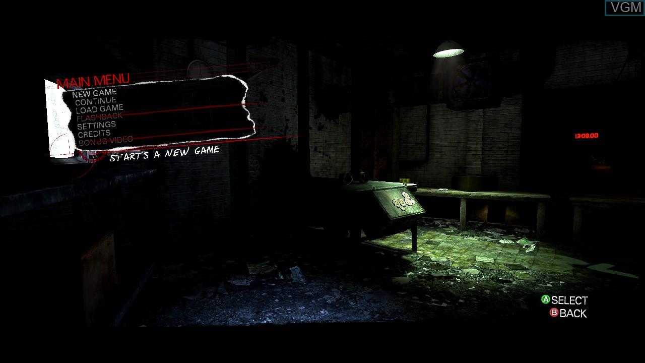Menu screen of the game Saw II - Flesh & Blood on Microsoft Xbox 360