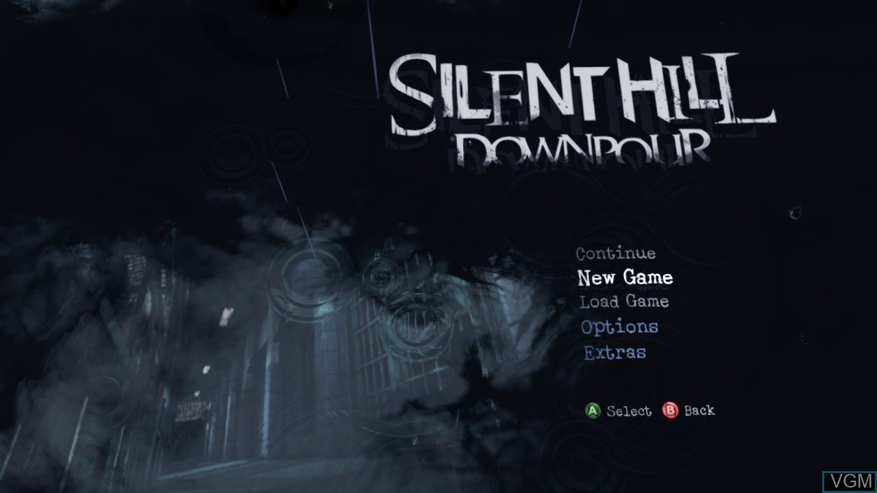 Menu screen of the game Silent Hill - Downpour on Microsoft Xbox 360