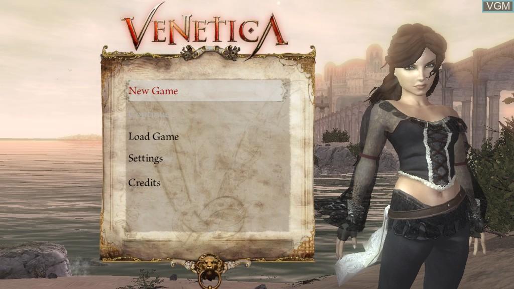 Menu screen of the game Venetica on Microsoft Xbox 360