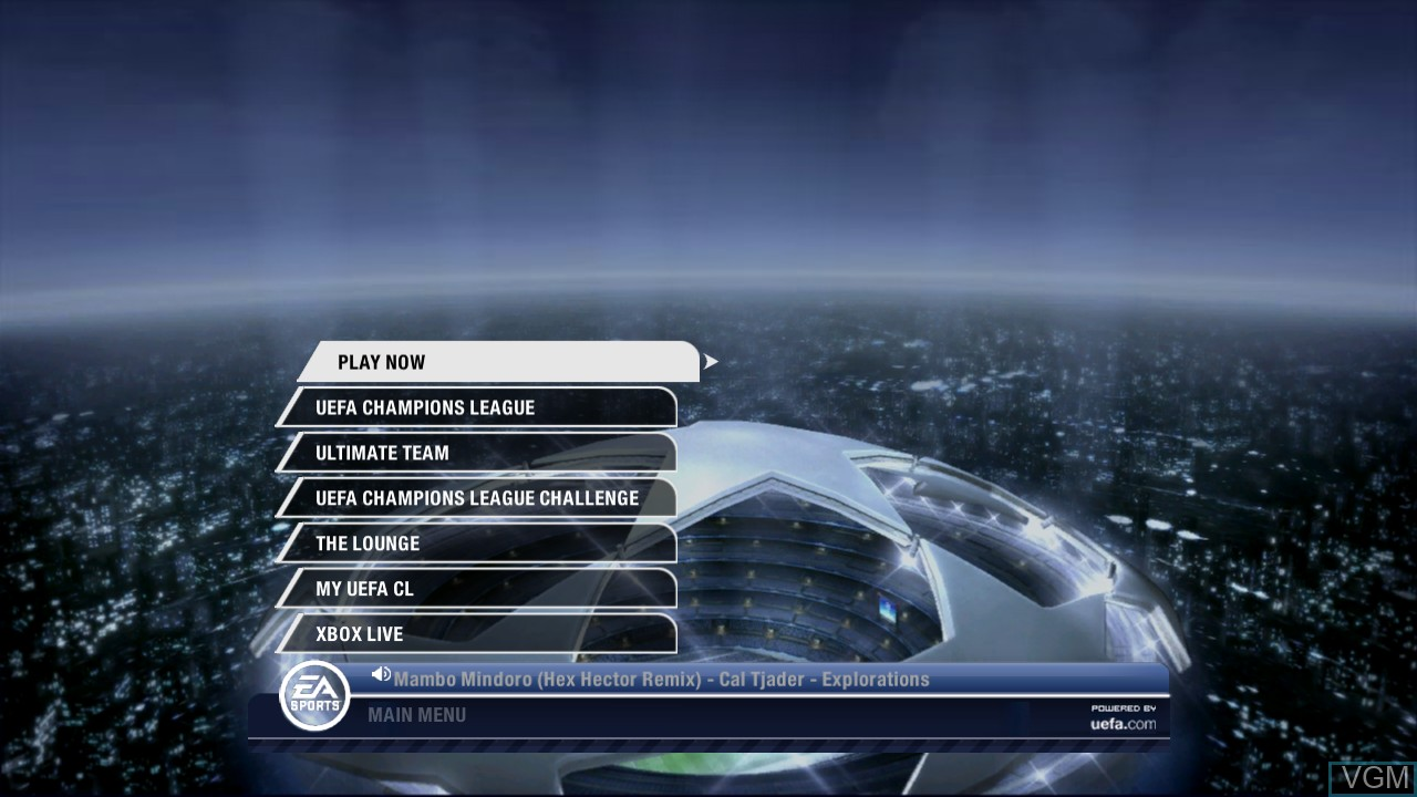 Menu screen of the game UEFA Champions League 2006-2007 on Microsoft Xbox 360