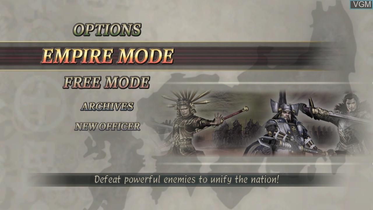 Menu screen of the game Samurai Warriors 2 Empires on Microsoft Xbox 360