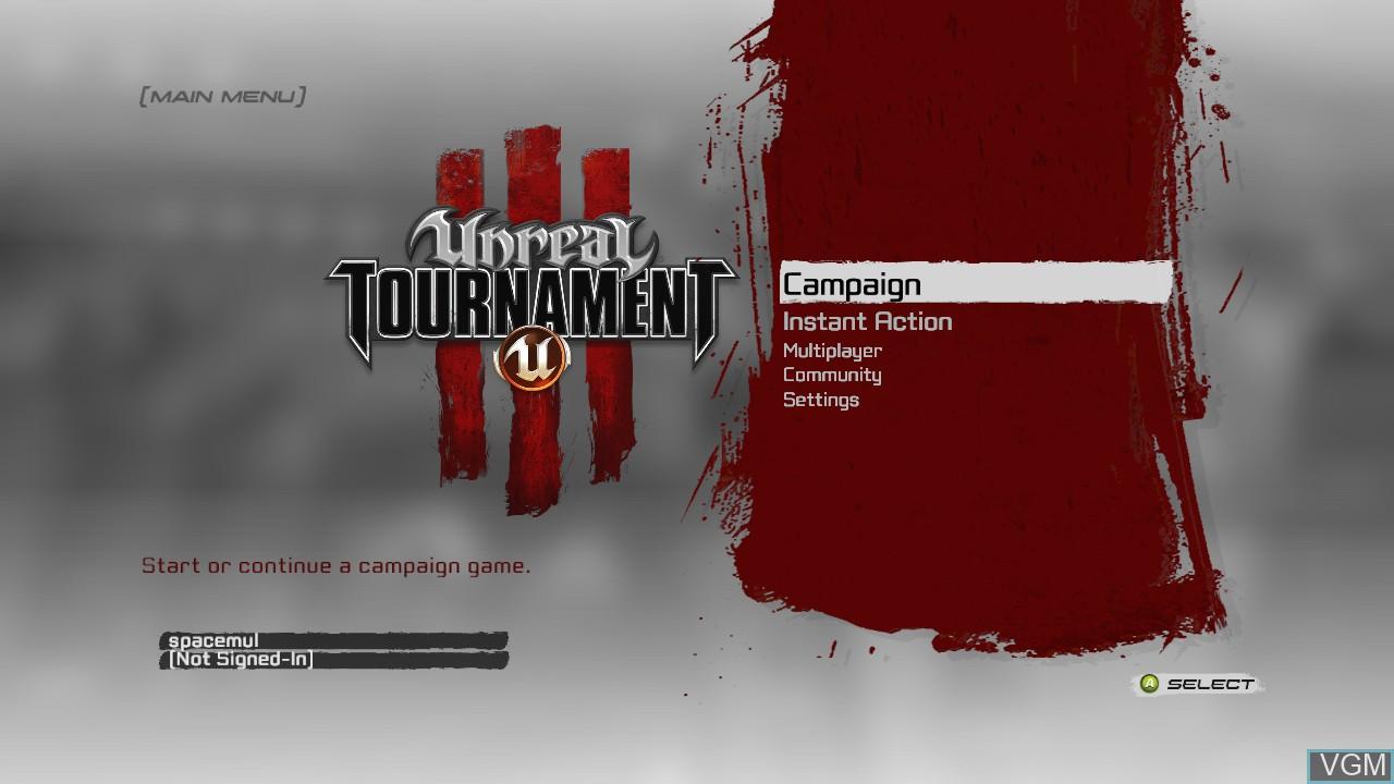 Menu screen of the game Unreal Tournament III on Microsoft Xbox 360