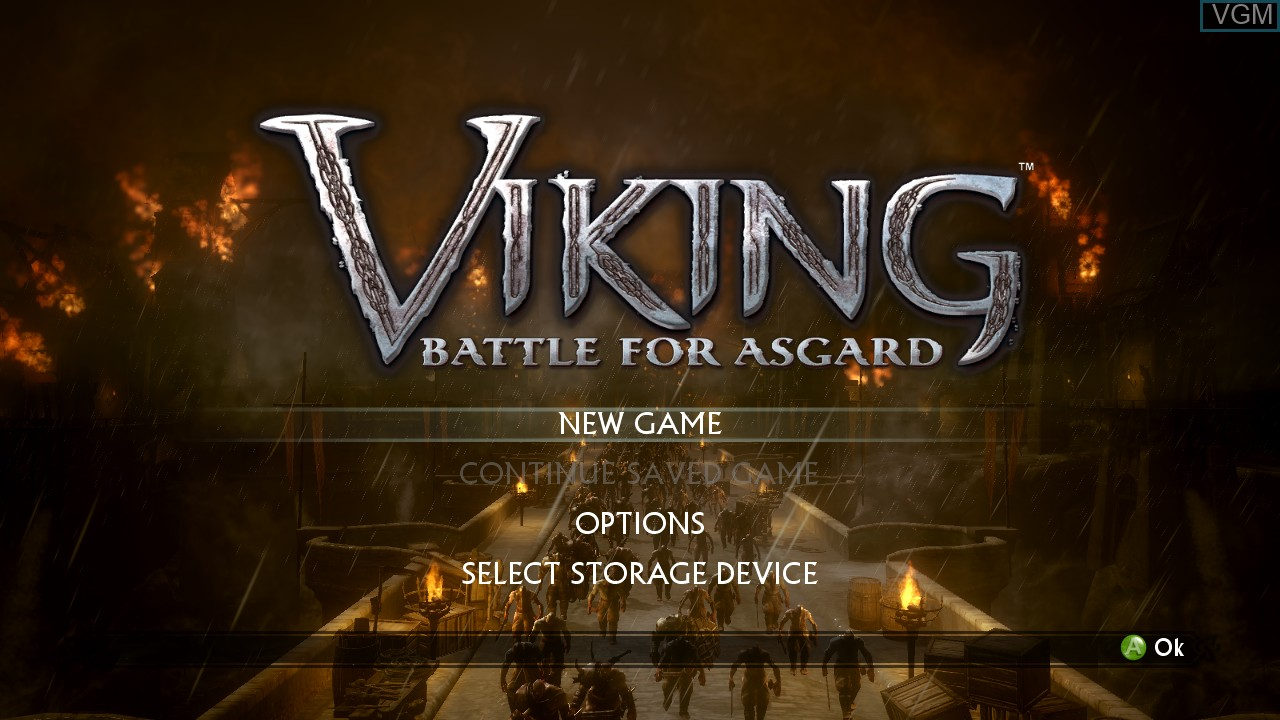 Menu screen of the game Viking - Battle for Asgard on Microsoft Xbox 360