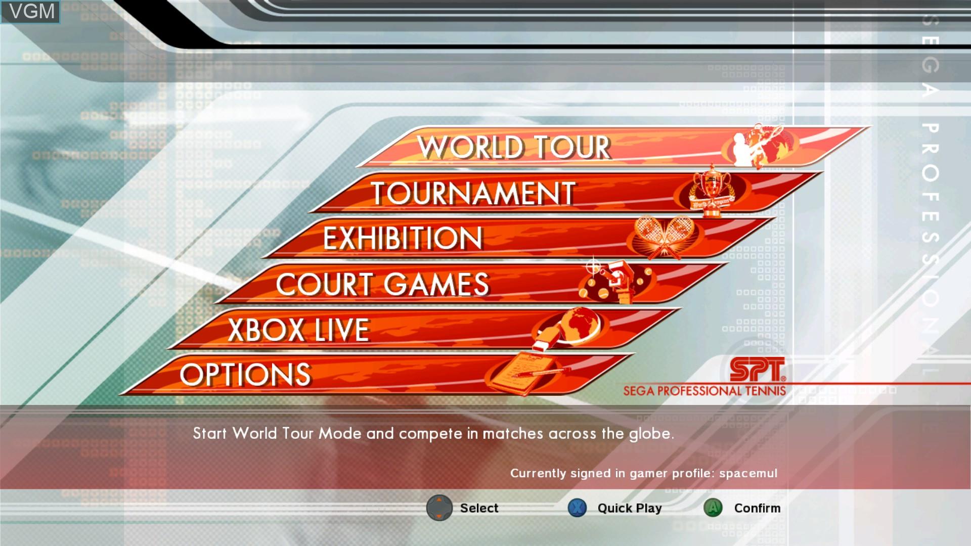 Menu screen of the game Virtua Tennis 3 on Microsoft Xbox 360