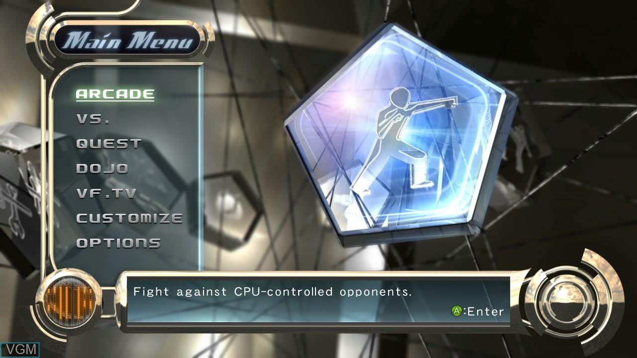 Menu screen of the game Virtua Fighter 5 on Microsoft Xbox 360