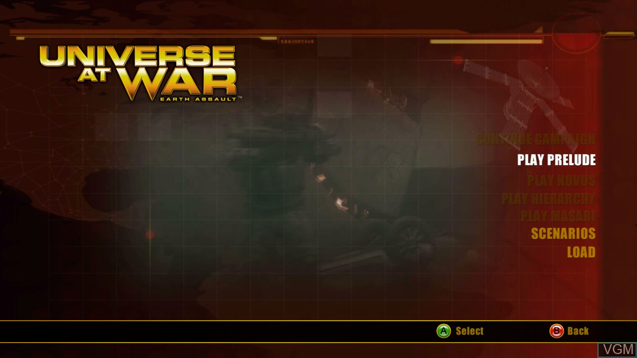 Menu screen of the game Universe at War - Earth Assault on Microsoft Xbox 360
