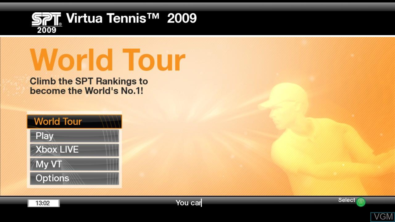 Menu screen of the game Virtua Tennis 2009 on Microsoft Xbox 360