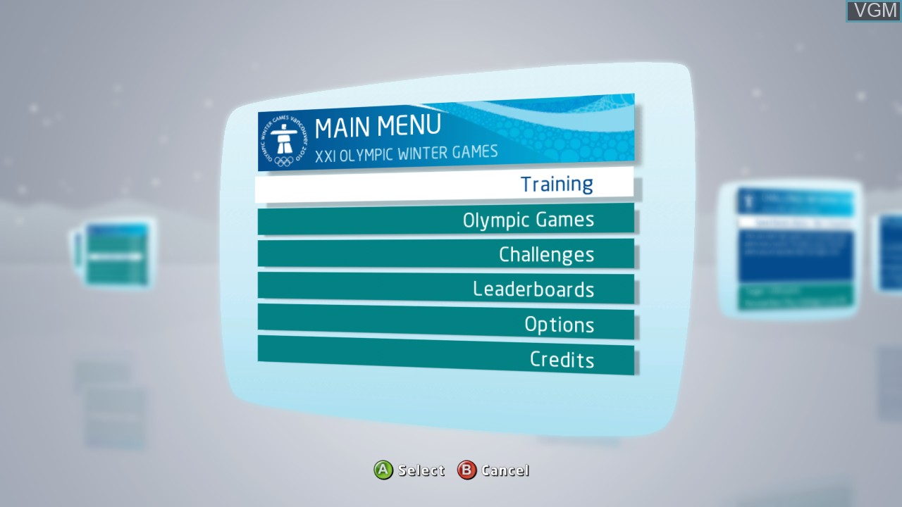 Menu screen of the game Vancouver 2010 - The Official Video Game of the Olympic Winter Games on Microsoft Xbox 360