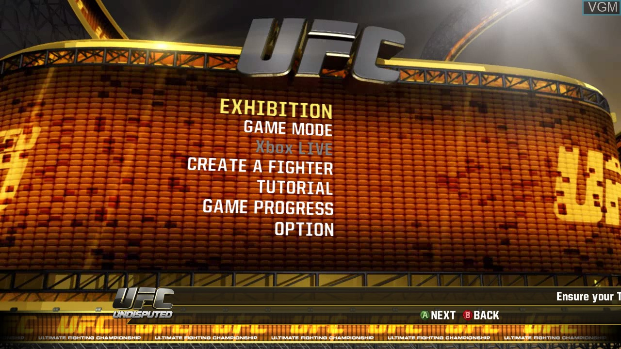 Menu screen of the game UFC Undisputed 2010 on Microsoft Xbox 360