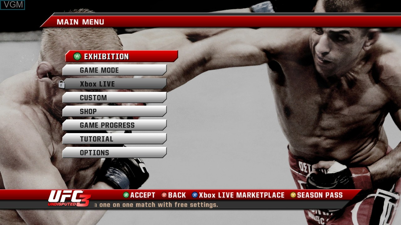Menu screen of the game UFC Undisputed 3 on Microsoft Xbox 360