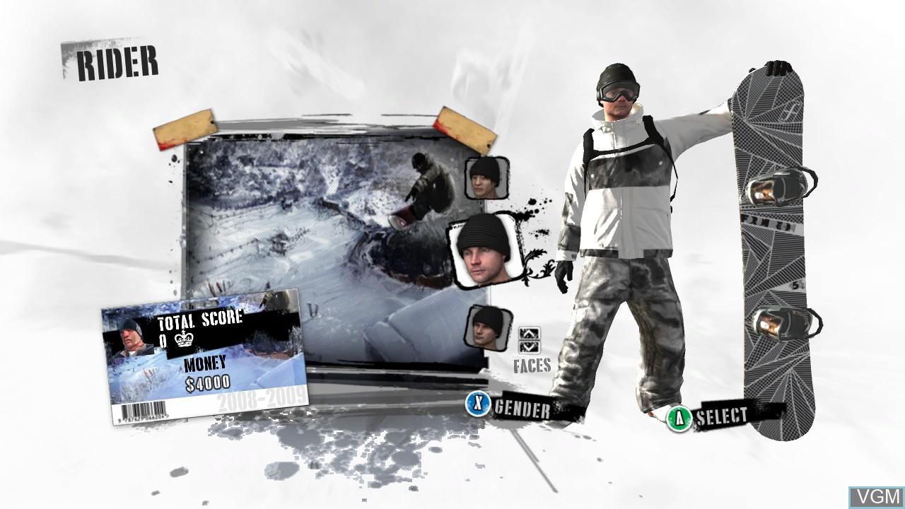 Menu screen of the game Shaun White Snowboarding on Microsoft Xbox 360