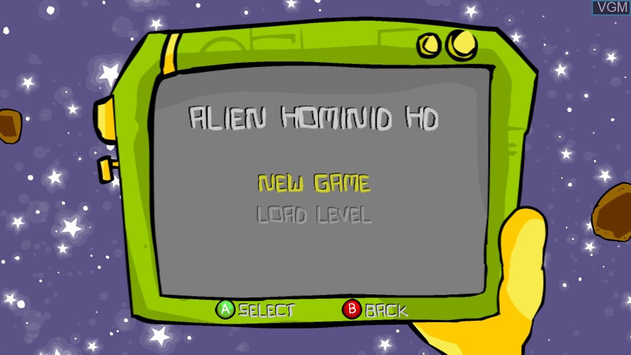 Menu screen of the game Alien Hominid HD on Microsoft Xbox 360