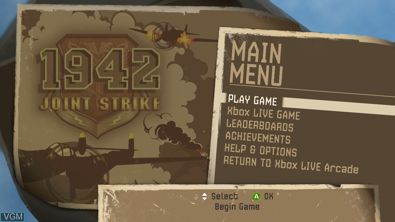 Menu screen of the game 1942 - Joint Strike on Microsoft Xbox 360