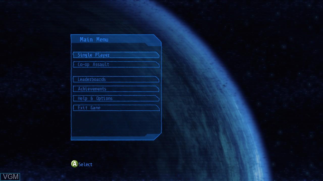 Menu screen of the game Alien Breed - Evolution on Microsoft Xbox 360