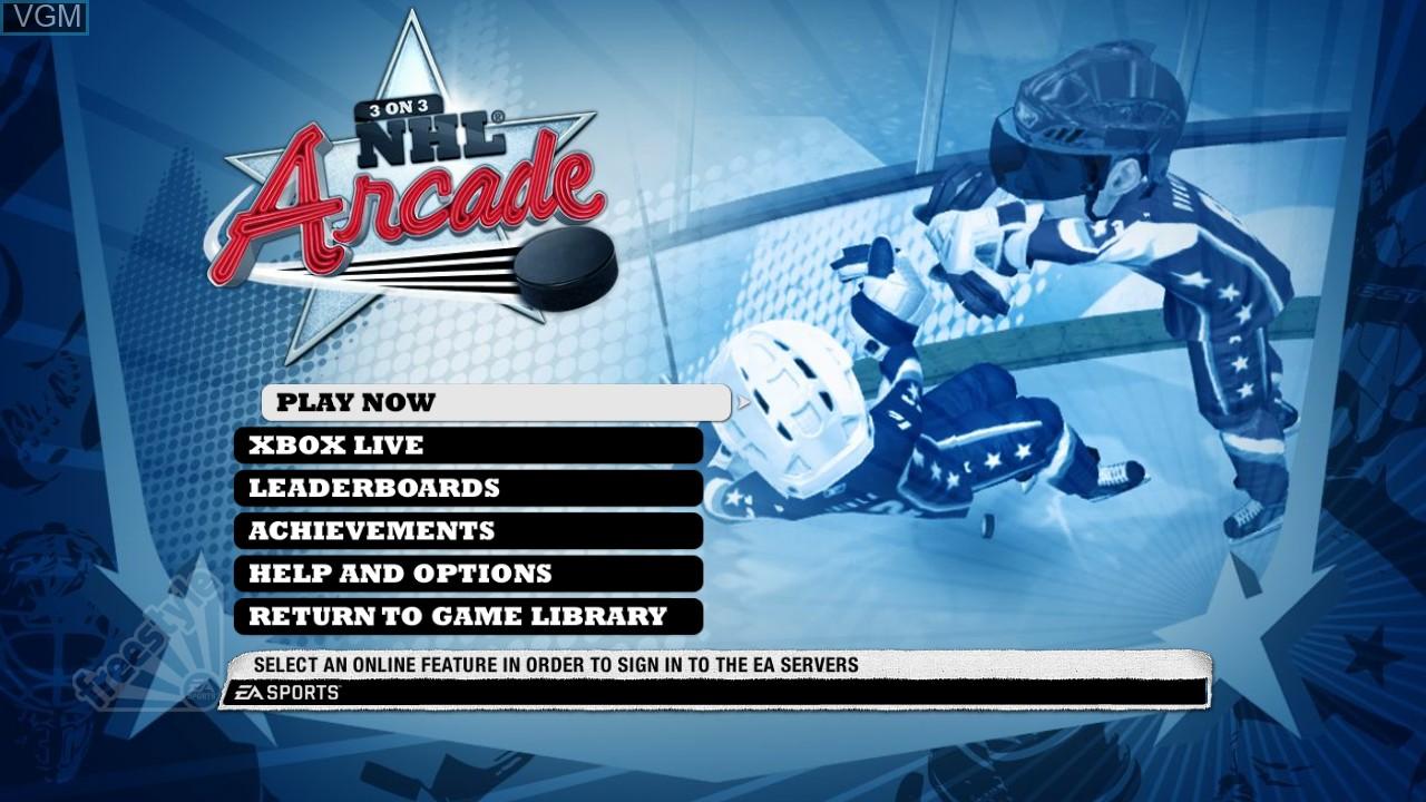 Menu screen of the game 3 on 3 NHL Arcade on Microsoft Xbox 360