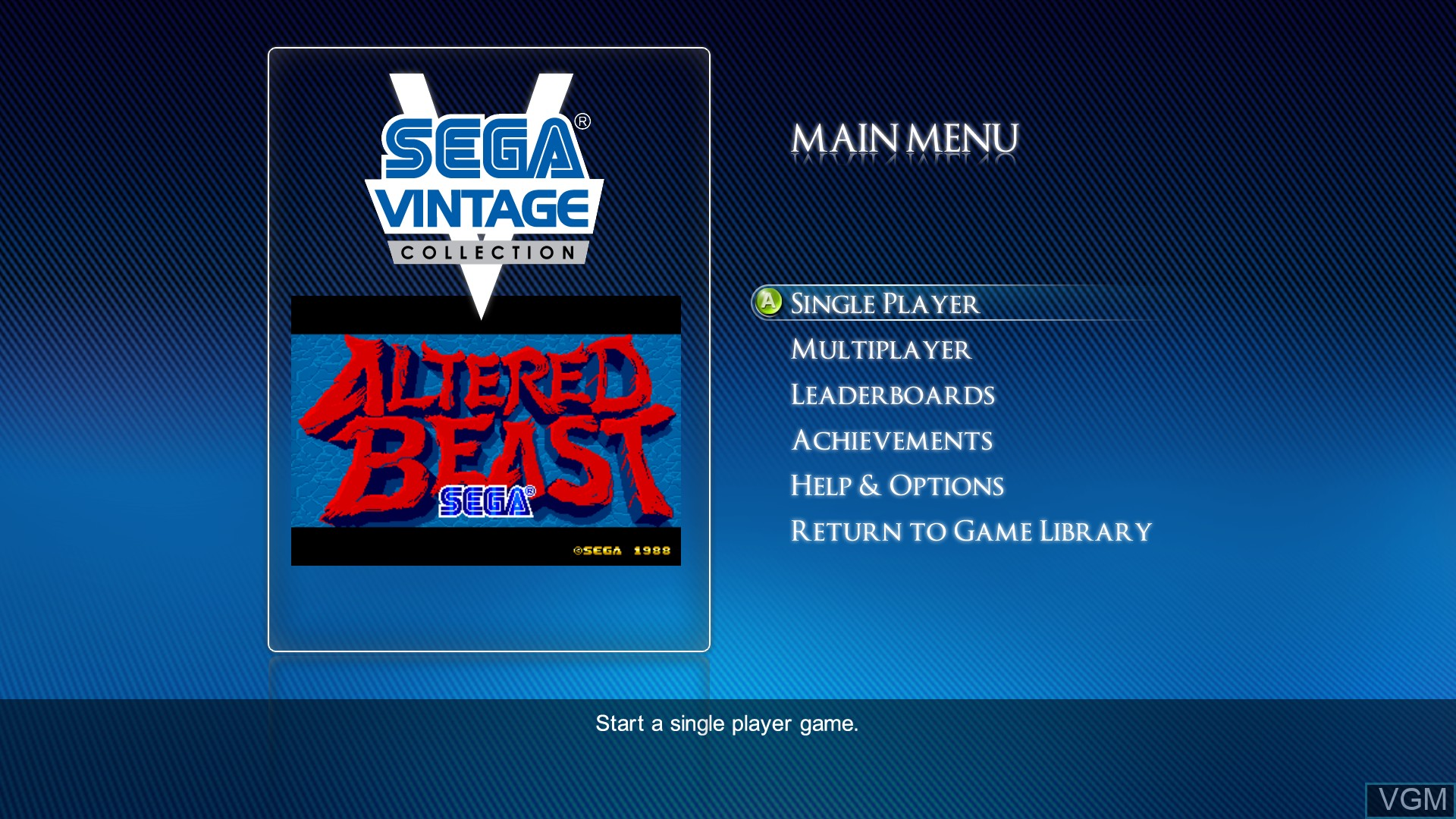 Menu screen of the game Altered Beast on Microsoft Xbox 360