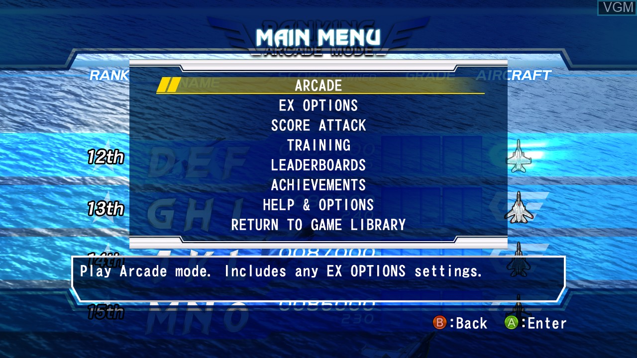Menu screen of the game After Burner Climax on Microsoft Xbox 360