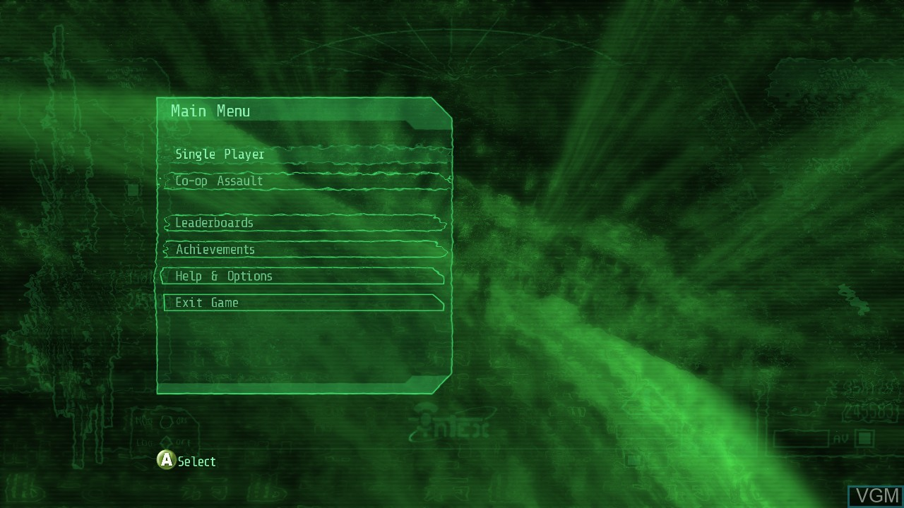 Menu screen of the game Alien Breed 2 - Assault on Microsoft Xbox 360