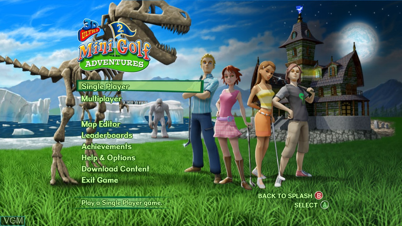 Menu screen of the game 3D Ultra MiniGolf Adventures 2 on Microsoft Xbox 360