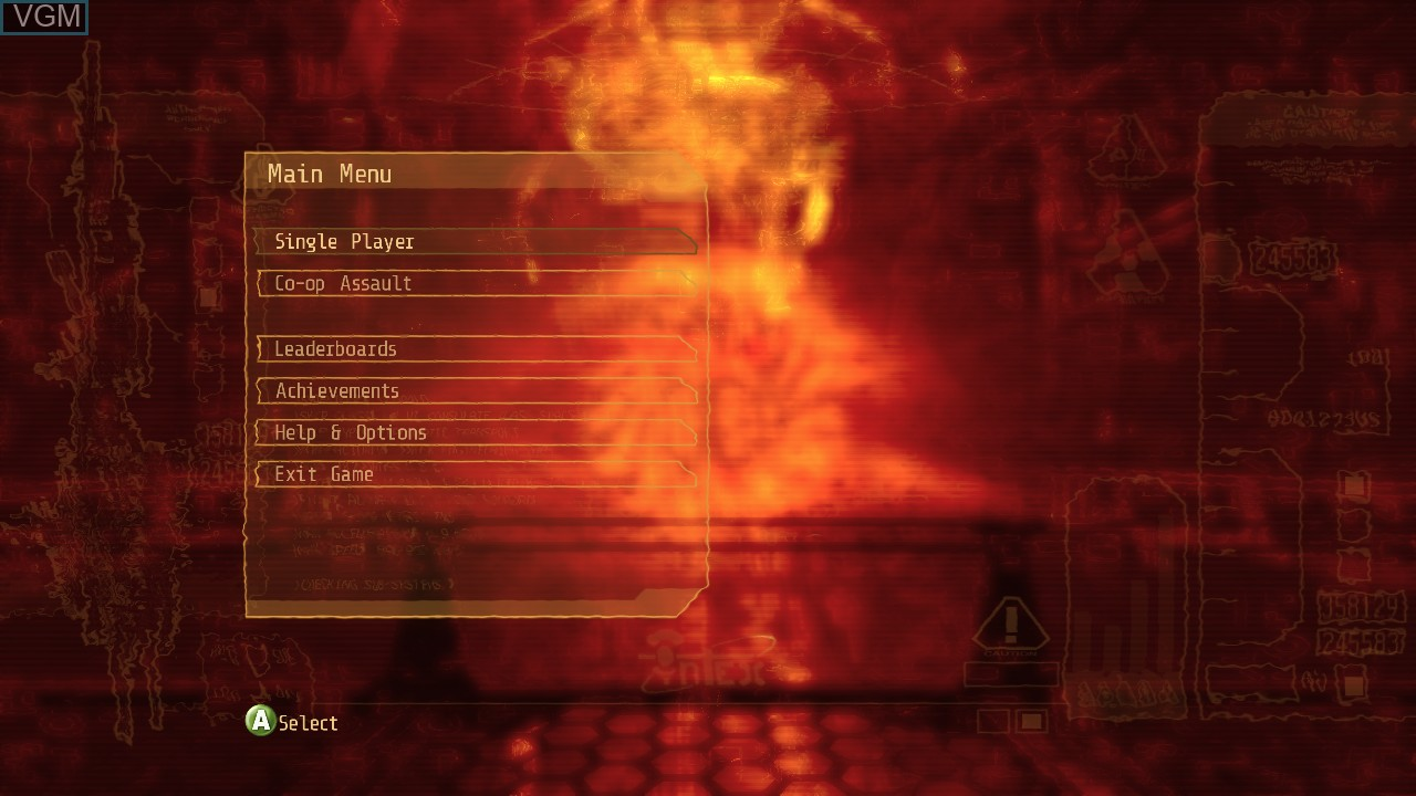 Menu screen of the game Alien Breed 3 - Descent on Microsoft Xbox 360