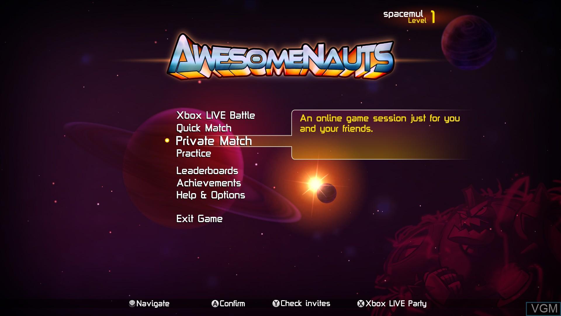 Menu screen of the game Awesomenauts on Microsoft Xbox 360
