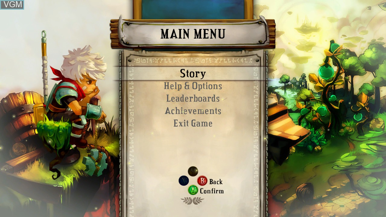 Menu screen of the game Bastion on Microsoft Xbox 360